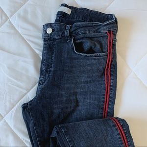 Black cropped jeans red side stripe
